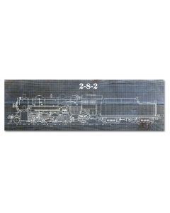 Train Blue Print 2-8-2, Wood Signs, Metal Sign, Wall Art, 22 X 7 Inches