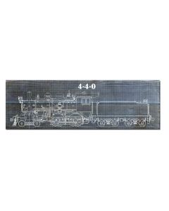 Train Blue Print 4-4-0, Wood Signs, Metal Sign, Wall Art, 22 X 7 Inches