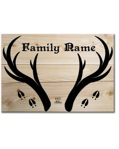 Antlers Family Name, Wood Signs, Metal Sign, Wall Art, 18 X 26 Inches