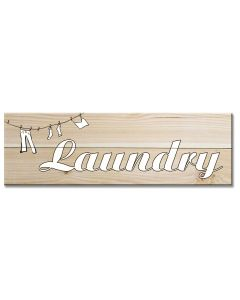 Laundry Sign Clothes Line Printed On Wood Vintage Sign, Wood Signs, Metal Sign, Wall Art, 7 X 22 Inches