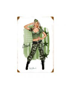 MARINE GIRL, Military, Metal Sign, Wall Art, 12 X 18 Inches
