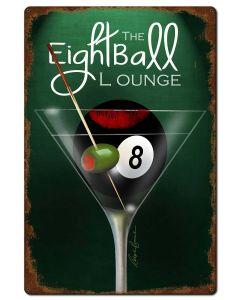 Eight Ball Lounge, Ralph Burch, Metal Sign, Wall Art, 24 X 36 Inches