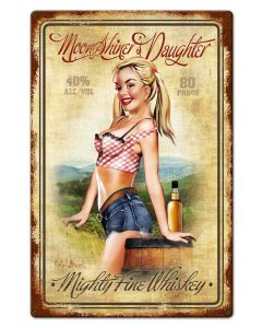 Moonshiner's Daughter Whiskey, Ralph Burch, Metal Sign, Wall Art, 15 X 22 Inches