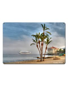 Palms Catalina Island Satin Vintage Sign, Other, Metal Sign, Wall Art, 18 X 12 Inches