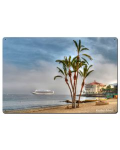 Palms Catalina Island Satin Vintage Sign, Other, Metal Sign, Wall Art, 24 X 16 Inches