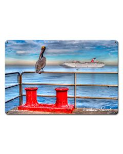 Pelican Catalina Island Satin Vintage Sign, Other, Metal Sign, Wall Art, 18 X 12 Inches