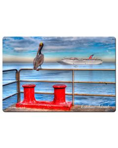Pelican Catalina Island Satin Vintage Sign, Other, Metal Sign, Wall Art, 24 X 16 Inches