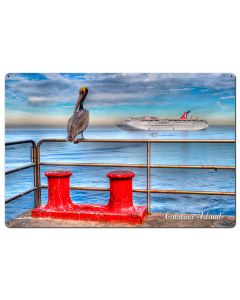 Pelican Catalina Island Satin Vintage Sign, Other, Metal Sign, Wall Art, 36 X 24 Inches