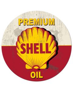 Red Premium Shell Oil Grunge LED, Oil & Petro, Metal Sign, Wall Art, 42 X 42 Inches