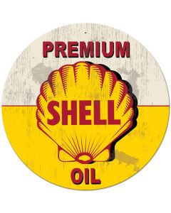 Yellow Premium Shell Oil Grunge, Oil & Petro, Metal Sign, Wall Art, 42 X 42 Inches