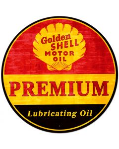 Golden Shell Motor Oil Premium Lubricating Oil Grunge, Oil & Petro, Metal Sign, Wall Art, 42 X 42 Inches