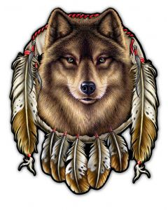 WOLF INDIAN, Other, Metal Sign, Wall Art, 14 X 17 Inches