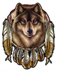 WOLF INDIAN, Other, Metal Sign, Wall Art, 24 X 29 Inches