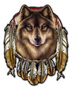 WOLF INDIAN, Other, Metal Sign, Wall Art, 29 X 36 Inches