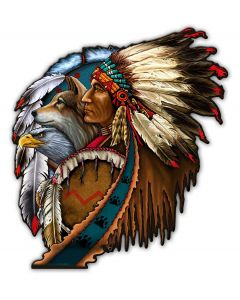 SHIELD INDIAN 5, Other, Metal Sign, Wall Art, 14 X 15 Inches