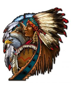 SHIELD INDIAN 5, Other, Metal Sign, Wall Art, 24 X 27 Inches