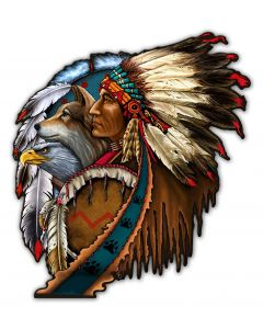 SHIELD INDIAN 5, Other, Metal Sign, Wall Art, 30 X 33 Inches