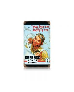 Defense Bond Stamps Vintage Sign, Military, Metal Sign, Wall Art, 8 X 14 Inches