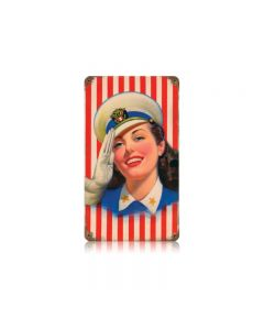 Salute Girl Vintage Sign, Military, Metal Sign, Wall Art, 8 X 14 Inches