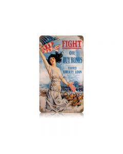 Fight Or Buy Vintage Sign, Military, Metal Sign, Wall Art, 8 X 14 Inches