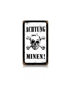 Achtung Minen! Vintage Sign, Military, Metal Sign, Wall Art, 8 X 14 Inches