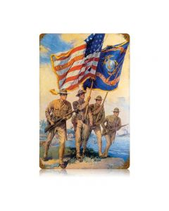 Marine Color Guard, Military, Metal Sign, Wall Art, 12 X 18 Inches