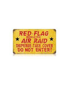 Red Flag Air Raid Vintage Sign, Military, Metal Sign, Wall Art, 14 X 8 Inches