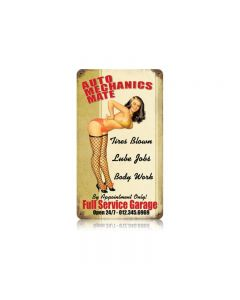 Auto Mechs Mate Vintage Sign, Pinup Girls, Metal Sign, Wall Art, 8 X 14 Inches