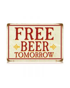 Free Beer Vintage Sign, Man Cave, Metal Sign, Wall Art, 18 X 12 Inches