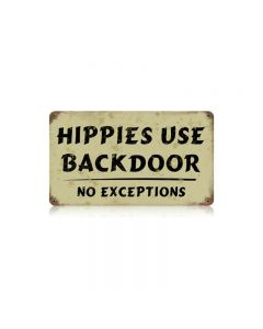 Hippies Vintage Sign, Man Cave, Metal Sign, Wall Art, 14 X 8 Inches