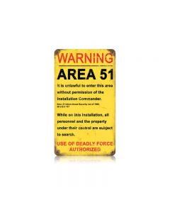 Area 51 Vintage Sign, Oil & Petro, Metal Sign, Wall Art, 8 X 14 Inches