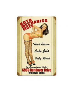 Auto Mechanics Mate Vintage Sign, Pinup Girls, Metal Sign, Wall Art, 12 X 18 Inches