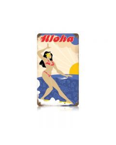 Aloha Surfer Vintage Sign, Humor, Metal Sign, Wall Art, 8 X 14 Inches