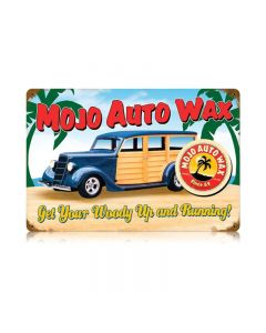 Mojo Woody Vintage Sign, Transportation, Metal Sign, Wall Art, 18 X 12 Inches