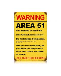 Area 51 Vintage Sign, Military, Metal Sign, Wall Art, 12 X 18 Inches