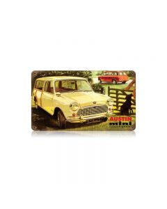 Austin Mini Countryman Vintage Sign, Transportation, Metal Sign, Wall Art, 14 X 8 Inches