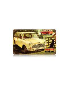 Austin Mini Countryman Vintage Sign, Transportation, Metal Sign, Wall Art, 14 X 8 Inches
