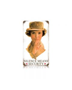 Silence Means Security Vintage Sign, Military, Metal Sign, Wall Art, 8 X 14 Inches