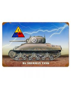 Sherman Tank Vintage Sign, Military, Metal Sign, Wall Art, 18 X 12 Inches