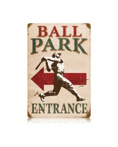 Ball Park Vintage Sign, Humor, Metal Sign, Wall Art, 12 X 18 Inches
