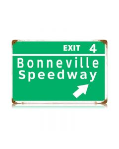 Bonneville Speedway Vintage Sign, Transportation, Metal Sign, Wall Art, 18 X 12 Inches