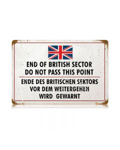 British Sector Vintage Sign, Military, Metal Sign, Wall Art, 18 X 12 Inches