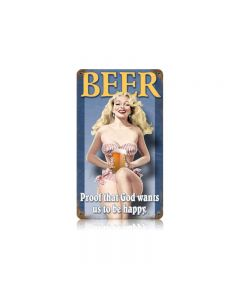 Beer Pin Up Vintage Sign, Man Cave, Metal Sign, Wall Art, 8 X 14 Inches