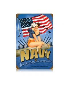Navy Pin Up Vintage Sign, Military, Metal Sign, Wall Art, 12 X 18 Inches