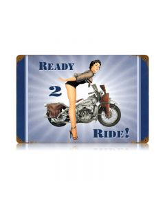 Navy Ready 2 Ride Vintage Sign, Military, Metal Sign, Wall Art, 18 X 12 Inches