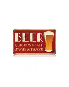 Beer Afternoon Vintage Sign, Man Cave, Metal Sign, Wall Art, 14 X 8 Inches