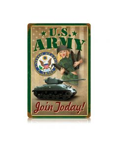Army Pin Up Vintage Sign, Military, Metal Sign, Wall Art, 12 X 18 Inches
