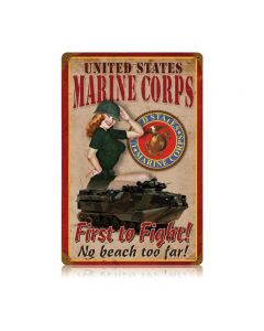 Usmc Pin Up, Military, Metal Sign, Wall Art, 12 X 18 Inches