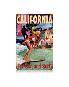 California Surfer Vintage Sign, Humor, Metal Sign, Wall Art, 12 X 18 Inches