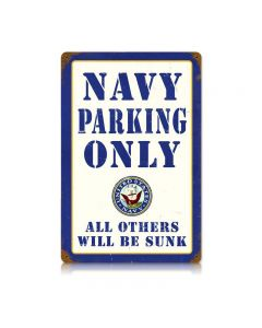 Navy Parking Vintage Sign, Military, Metal Sign, Wall Art, 18 X 12 Inches